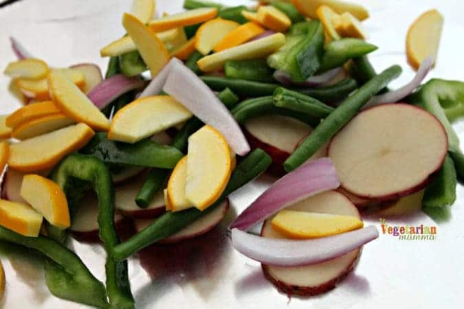 Chopped fresh squash, green beans, peppers, onions and potatoes