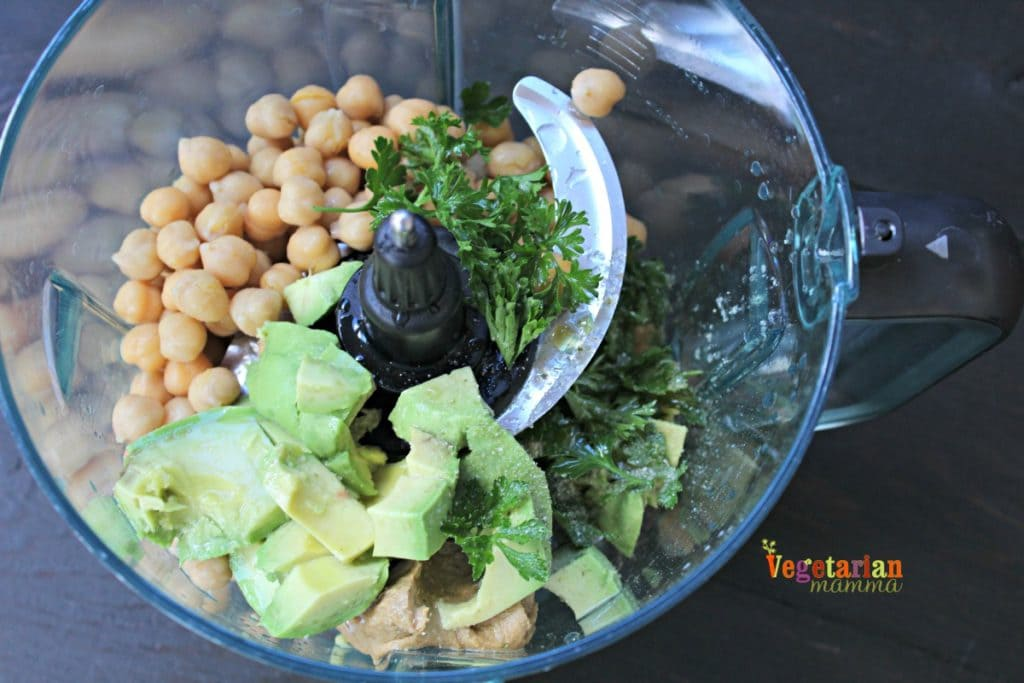 Avocado Hummus @Vegetarianmamma.com - Use a food processor to mix