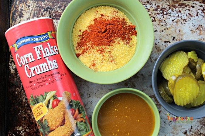 Gluten Free Fried Pickles @Vegetarianmamma.com - Corn Flake Crumbs