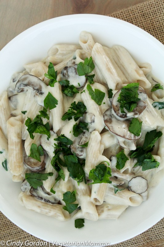 Gluten Free and Vegetarian Mushroom Alfredo Sauce with Penne