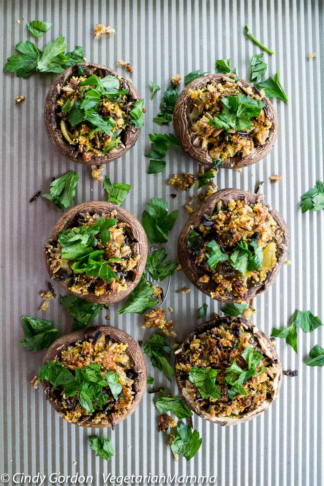 Gluten Free, Vegetarian Wild Rice Stuffed Mushrooms