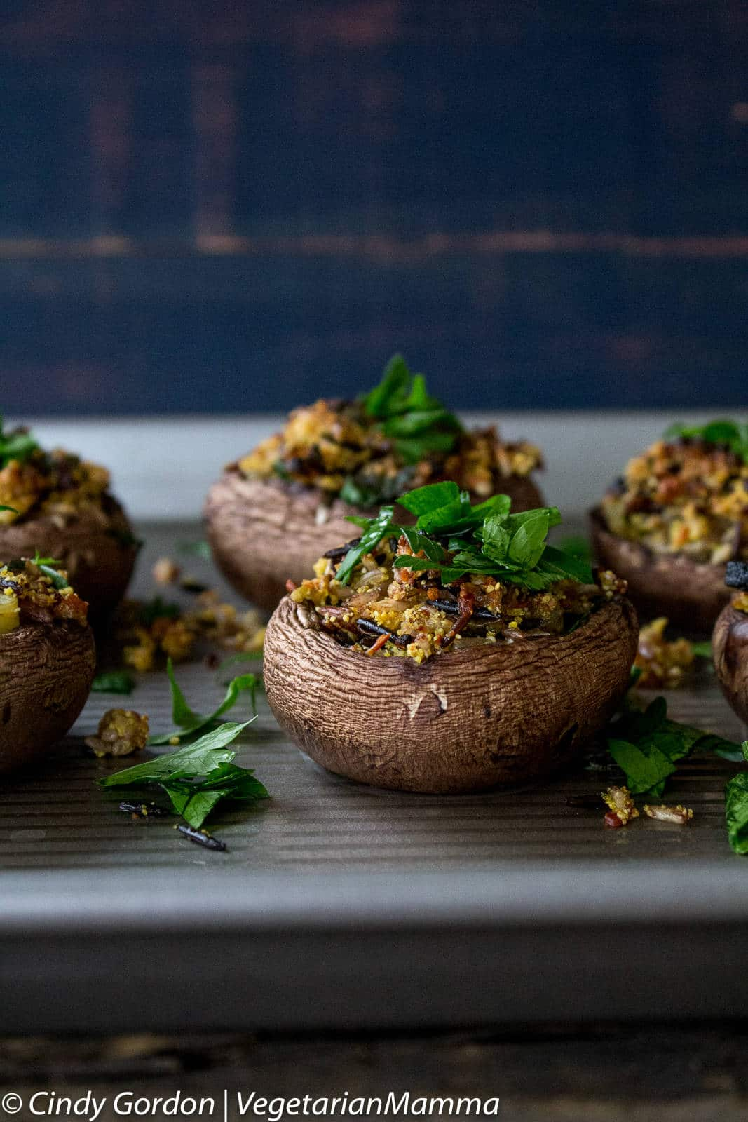 Gluten Free, Vegetarian Wild Rice Stuffed Mushrooms are a delicious mushroom recipe.