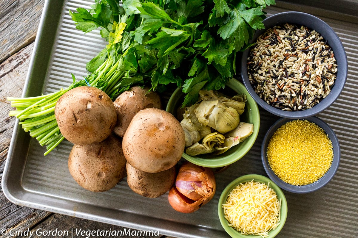 Ingredients for Gluten Free, Vegetarian Wild Rice Stuffed Mushrooms