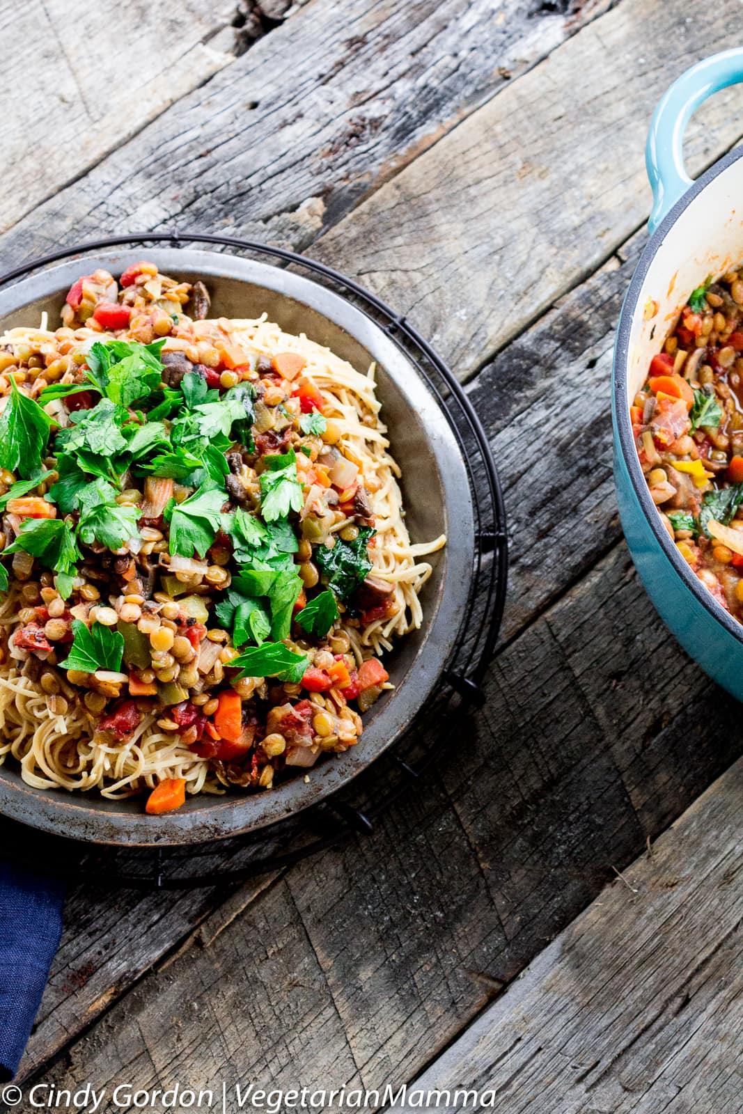 vegetable ragu served over pasta