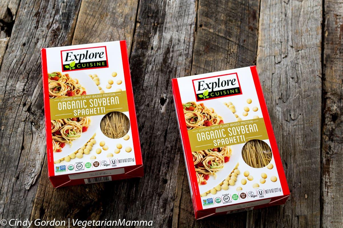two boxes of organic soybean spaghetti