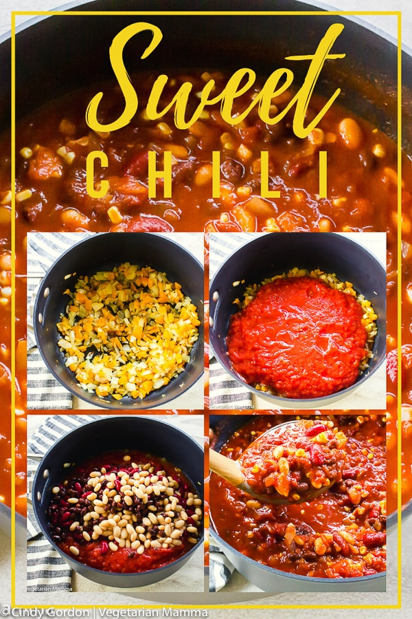 Love to warm up with a sweet chili? Try this game-day vegetarian chili on for size! It is a veg chili but hearty enough that your meat eating friends won't notice! #sweetchili #vegetarianrecipe