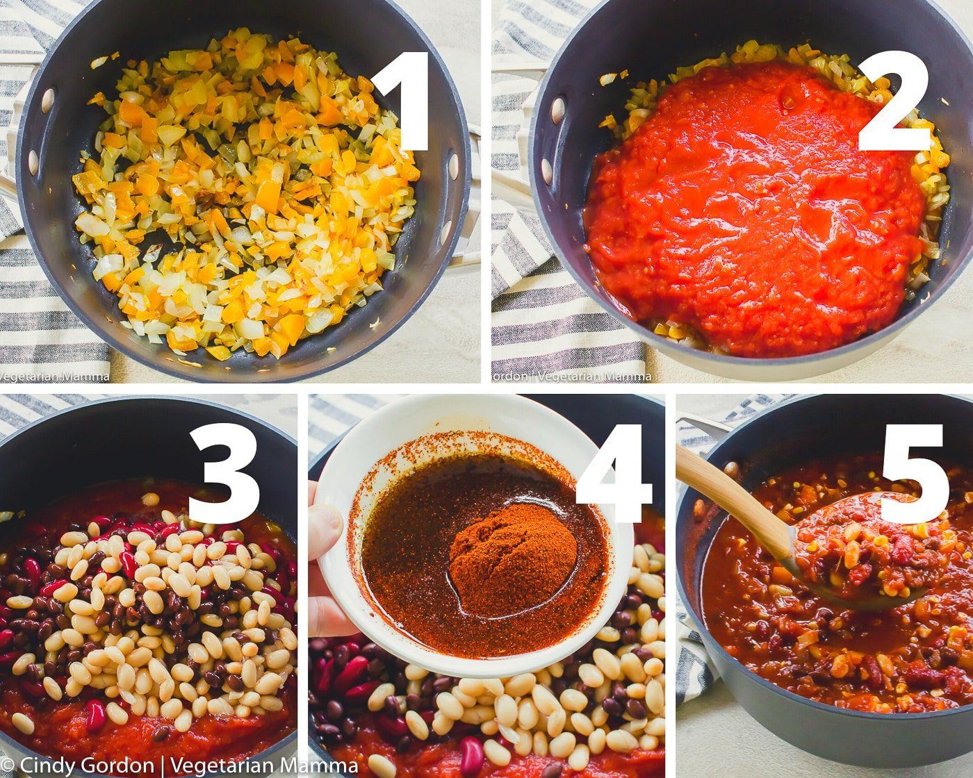 Collage of vegetarian sweet chili pictures
