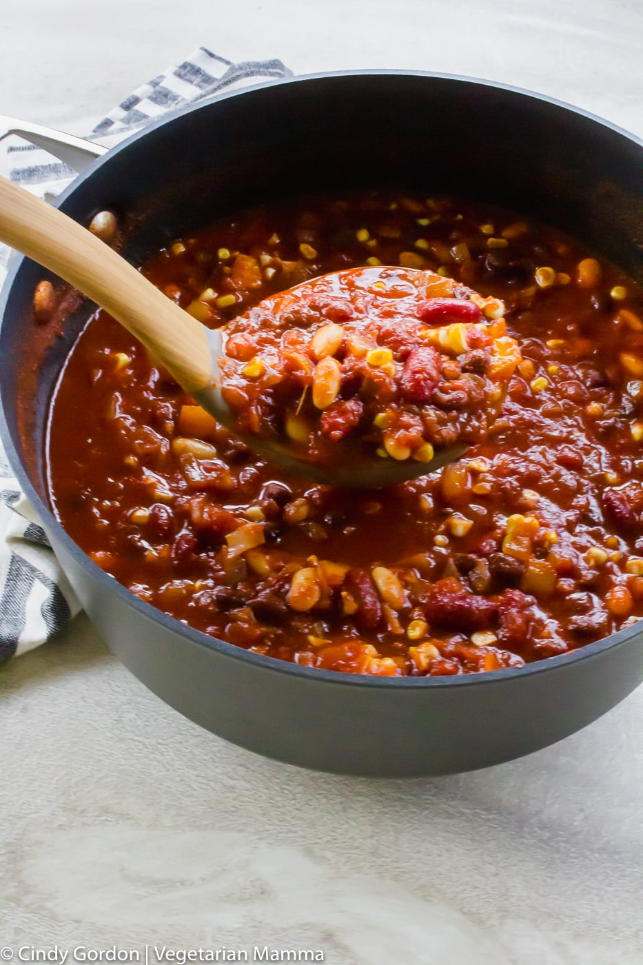 Vegetarian Sweet Chili with a ladle scooping some out