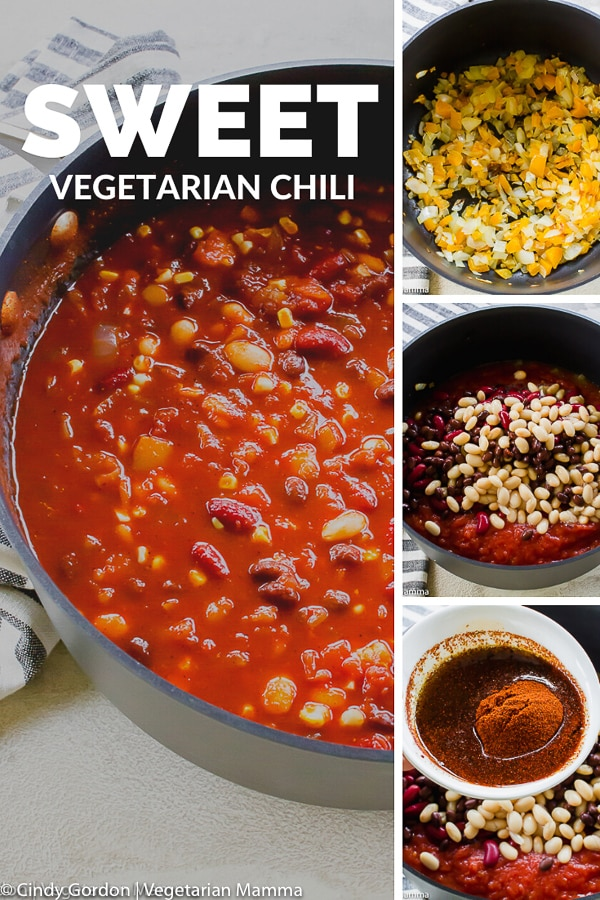 Love to warm up with a sweet chili? Try this game-day vegetarian chili on for size! It is a veg chili but hearty enough that your meat eating friends won't notice! #sweetchili #vegetarianchili