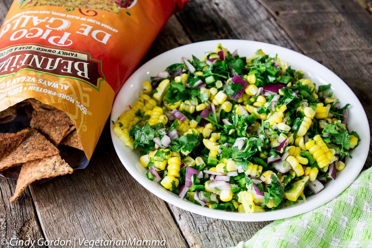 Easy Corn Salsa A delicious snack @vegetarianmamma.com