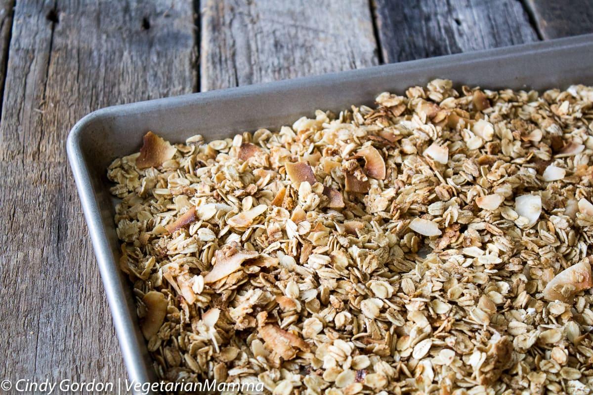 sheet pan of gluten free granola