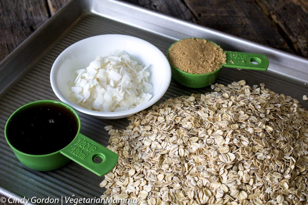 ingredients for gluten free granola recipe on baking sheet
