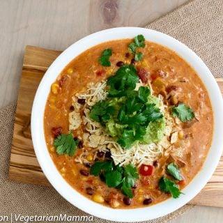 Slowcooker Tex Mex Enchilada Chowder @vegetarianmamma.com