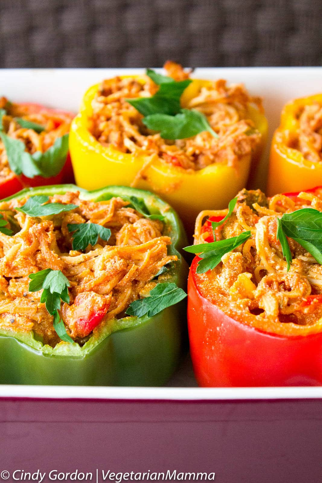 Spaghetti Stuffed Peppers - a fun twist on a classic for dinner