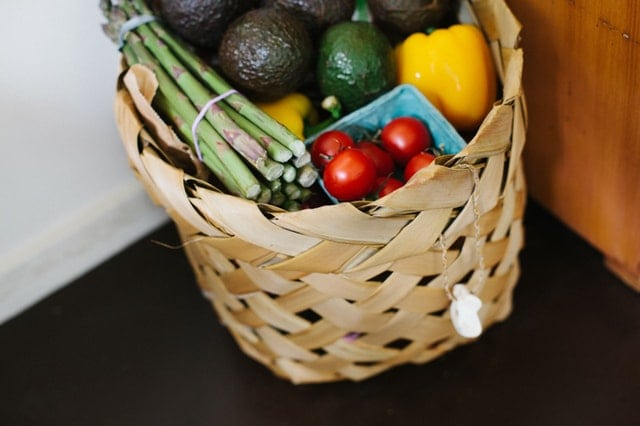 A basket of vegetables that a vegetarian would eat.