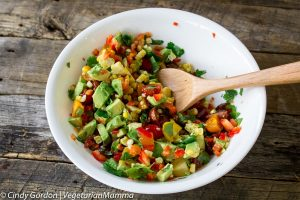 Grilled Corn Avocado Tomato Salad + a grilling tip