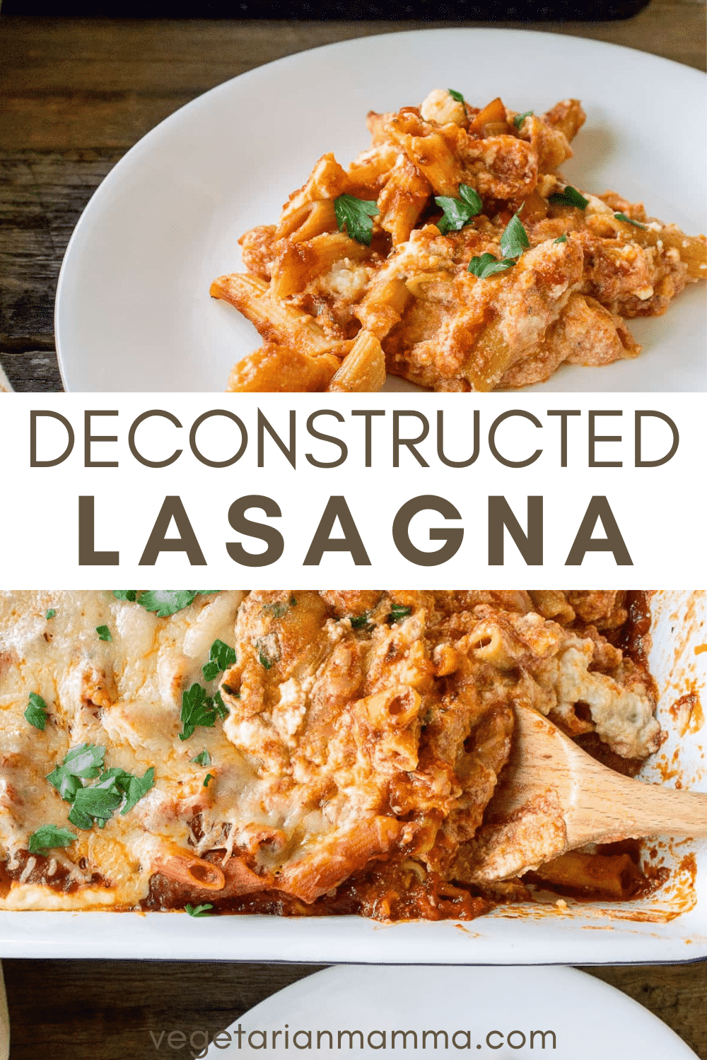 Deconstructed Lasagna is our version of the ultimate comfort food dinner. Tender noodles enveloped in flavorful sauce and topped with cheese. #deconstructedlasagna #vegetarianlasagna #lasagnarecipe