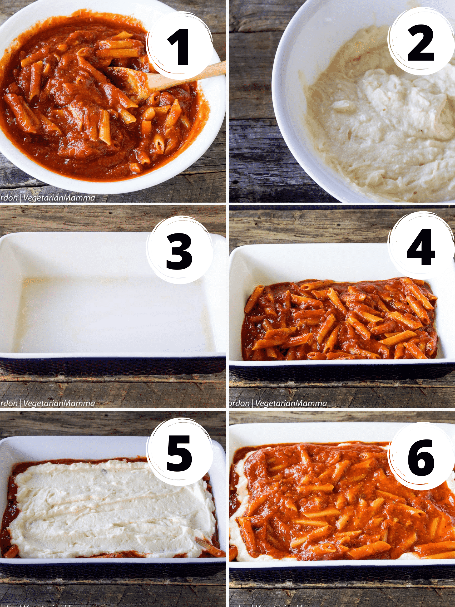 deconstructed lasagna collage of 6 steps