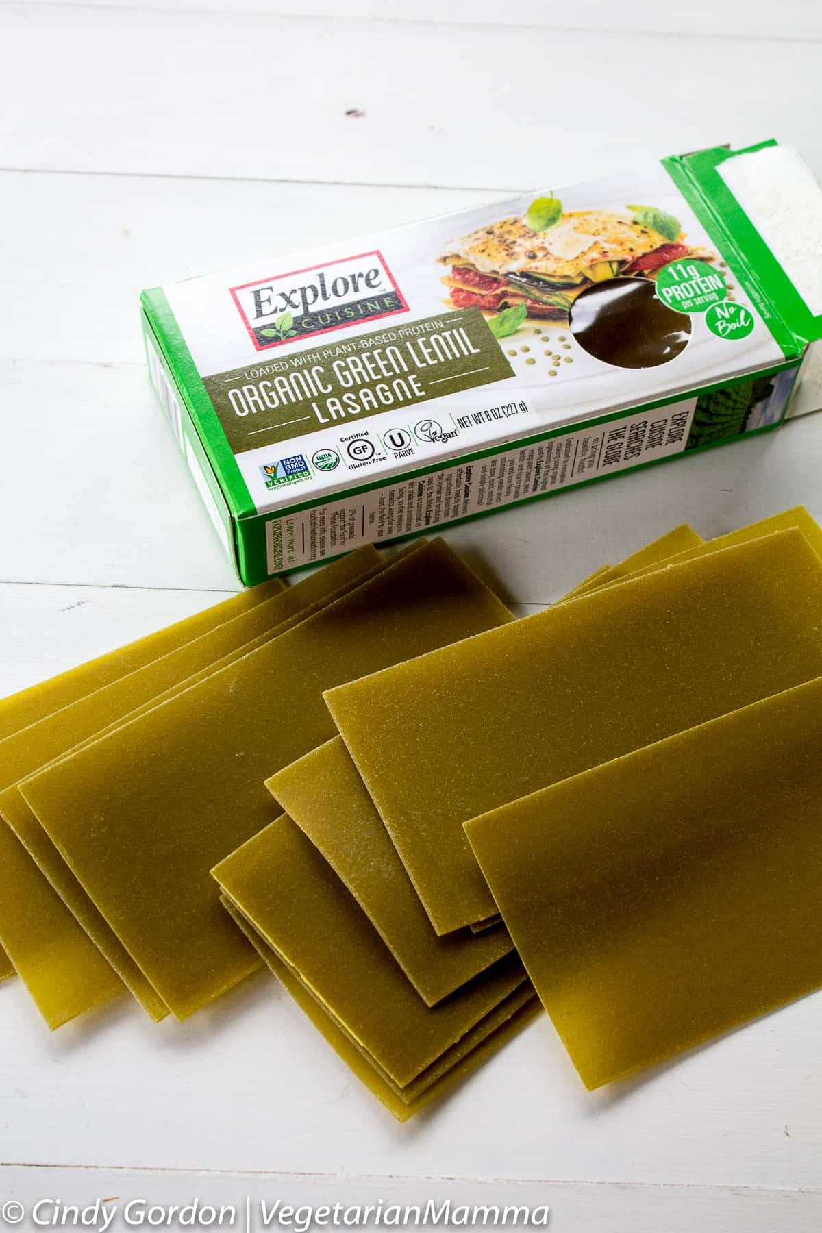 box of green lentil lasanga noodles