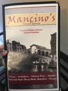 Mancino's Pizza and Grinders, Gluten Free Options in Michigan
