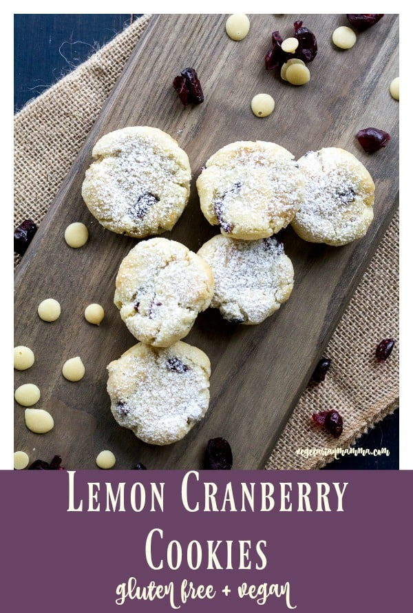 Lemon Cranberry cookies with powdered sugar
