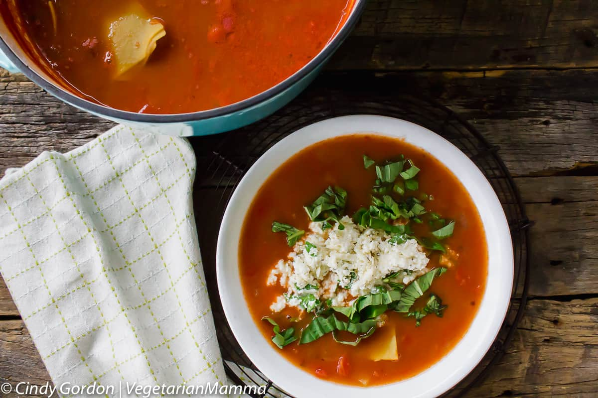 Bowl Of Easy Lasagna Soup