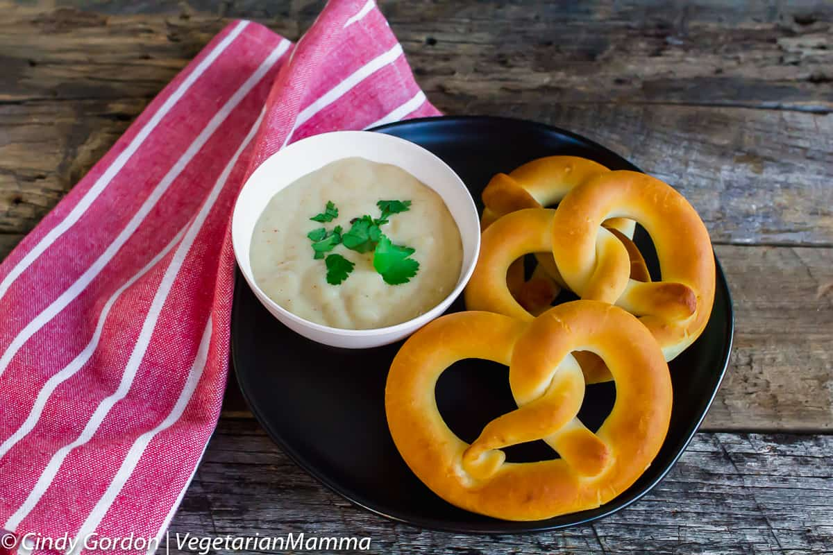 Gluten Free Beer Cheese Dip in a bowl with pretzels on the side