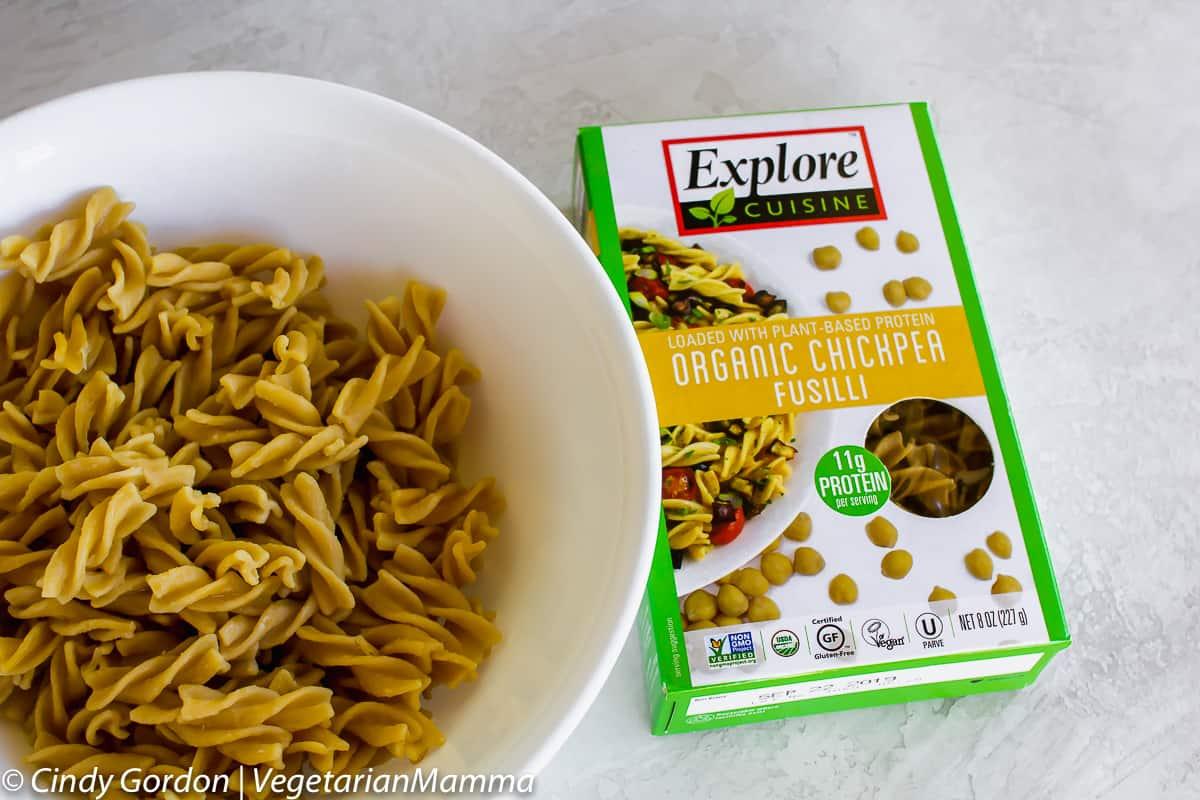 Organic chickpea fusilli pasta from Explore Cuisine