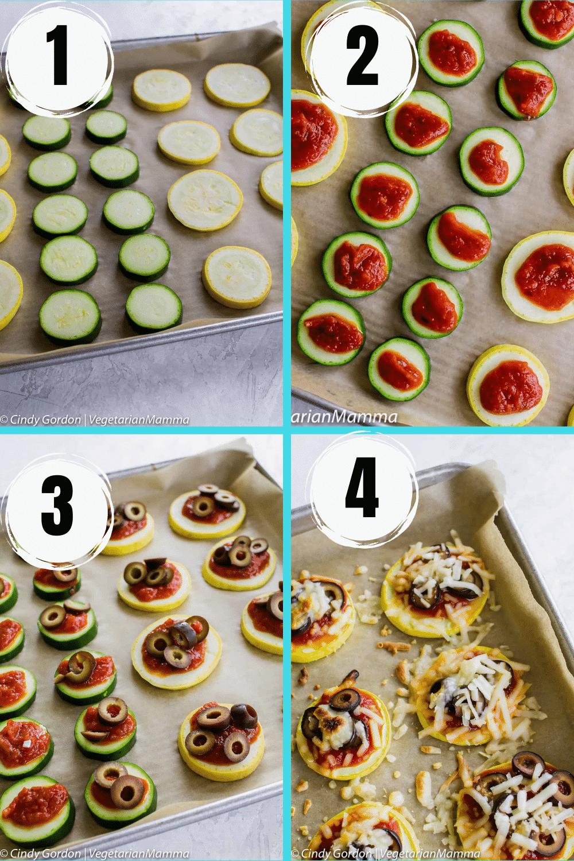 mini zucchini pizzas collage