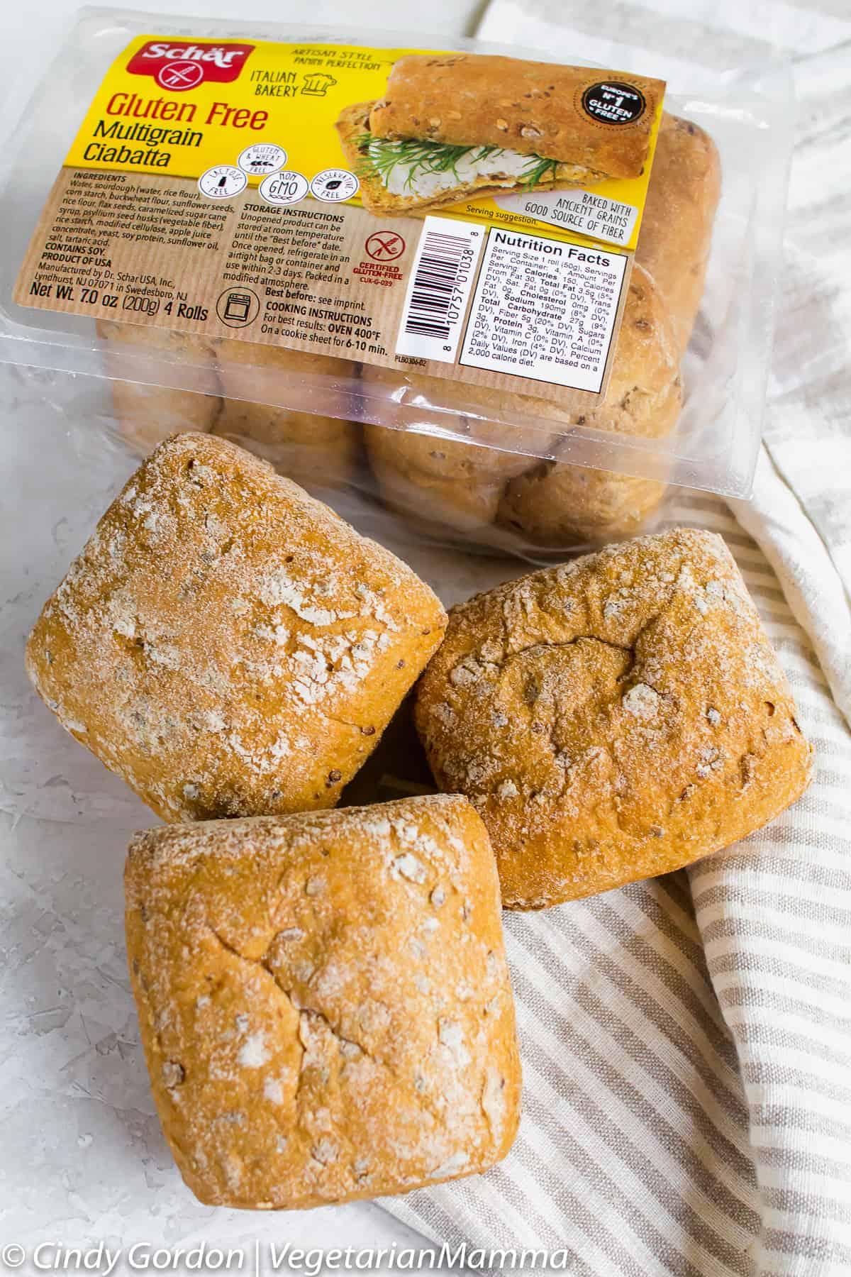 Schar makes the best gluten free multigrain ciabatta rolls for egg salad sandwiches.