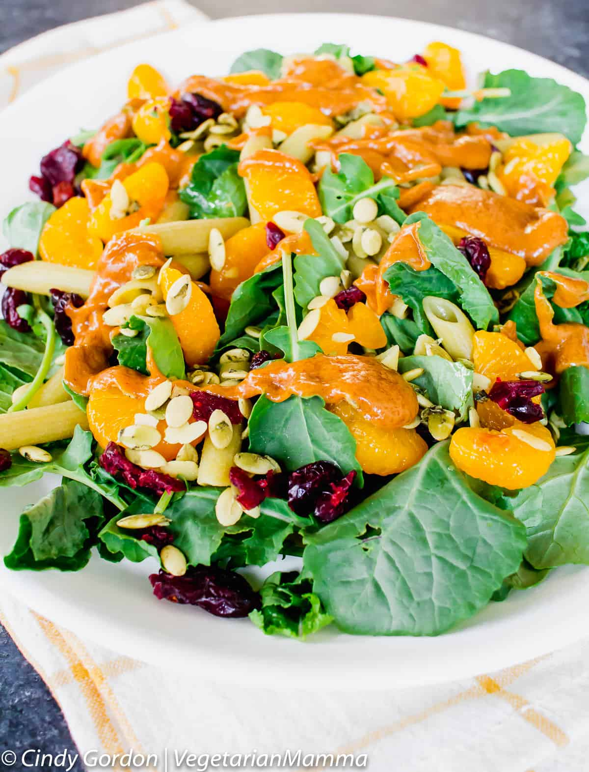Mandarin Spinach Pasta Salad is a delicious side dish or main.