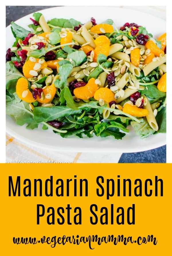Mandarin Spinach Pasta Salad is full of simple ingredients but explodes with flavor!