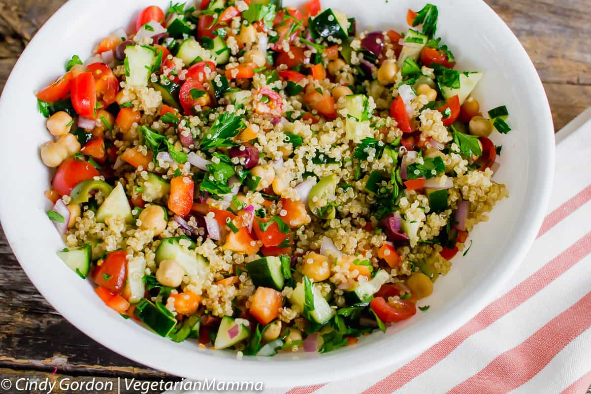 If you love mediterranean flavors, you will gush over this quinoa salad.