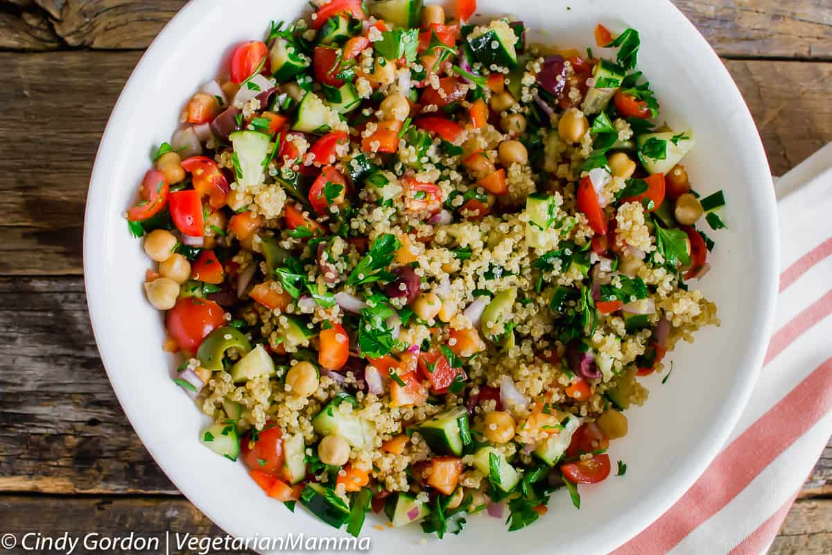 Mediterranean chickpea salad is a fast, easy to make dish!