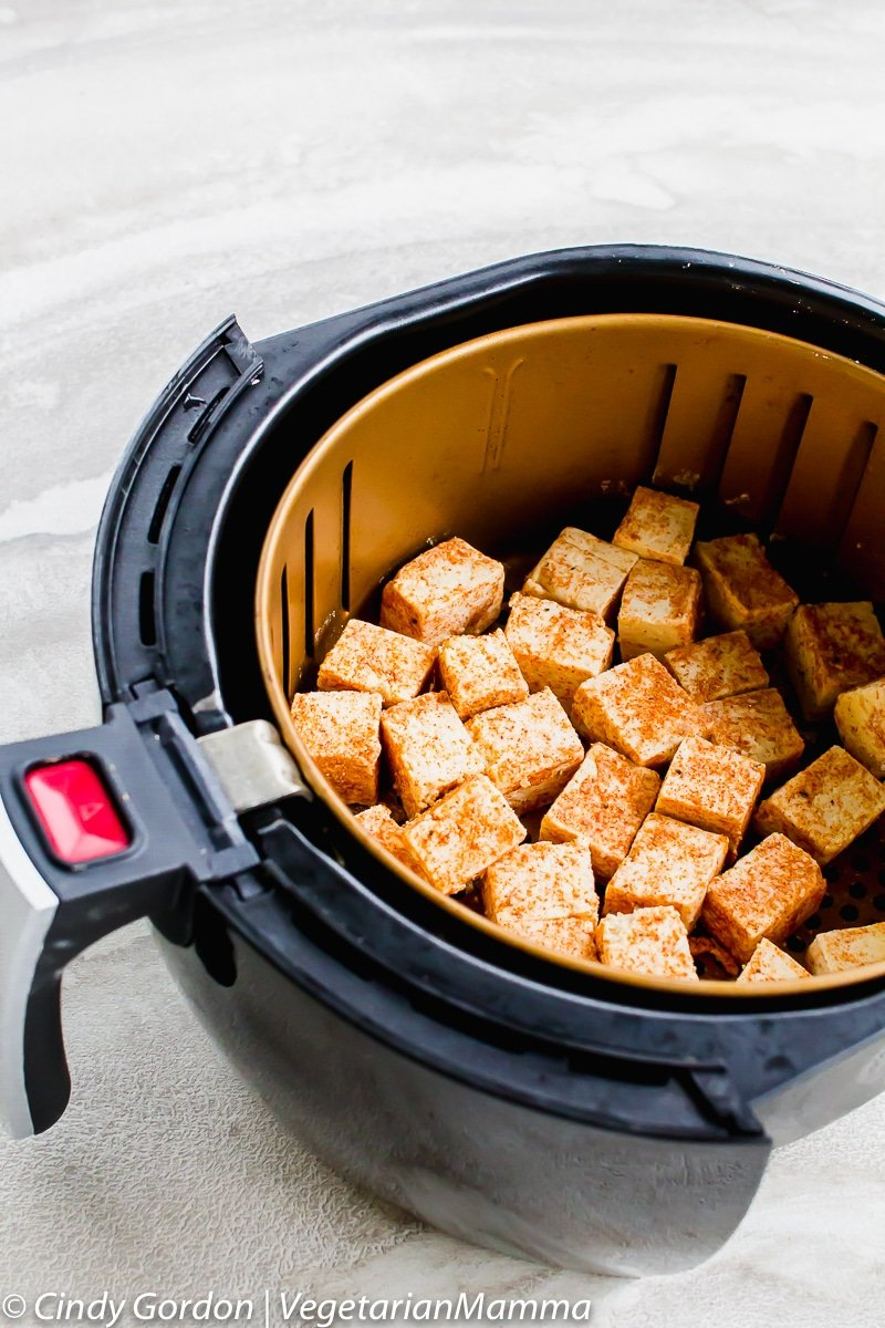 tofu cubes in an air fryer