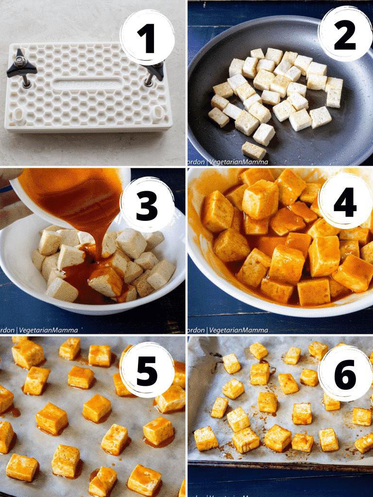 photo collage of six steps needed to make buffalo tofu bites