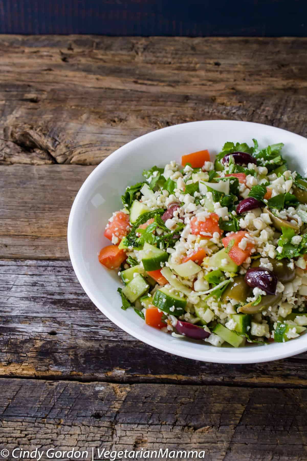 Cauliflower Tabbouleh is Paleo friendly and served raw.