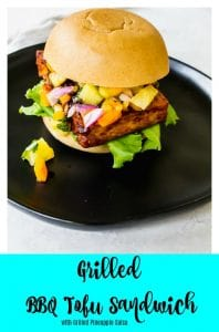 Grilled BBQ Tofu Sandwich with grilled pineapple salsa