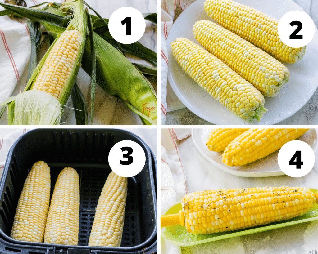 photo collage of four steps to make corn in the air fryer