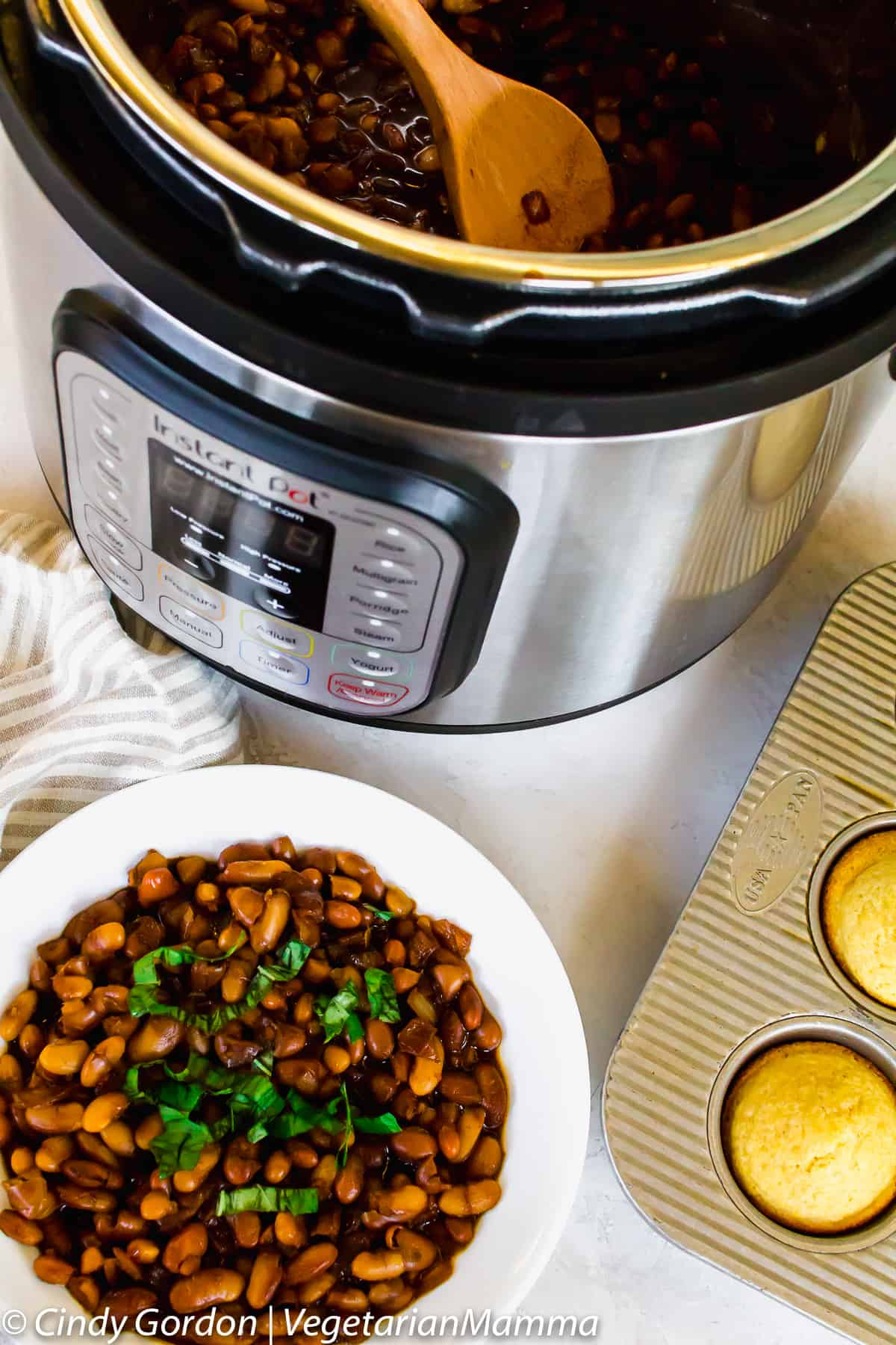 Vegetarian Instant Pot Baked Beans have the perfect amount of sweetness.