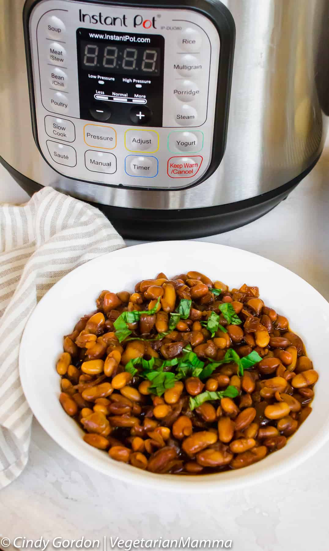 Baked Beans made in an instant, picture of beans in bowl and instant pot in background.