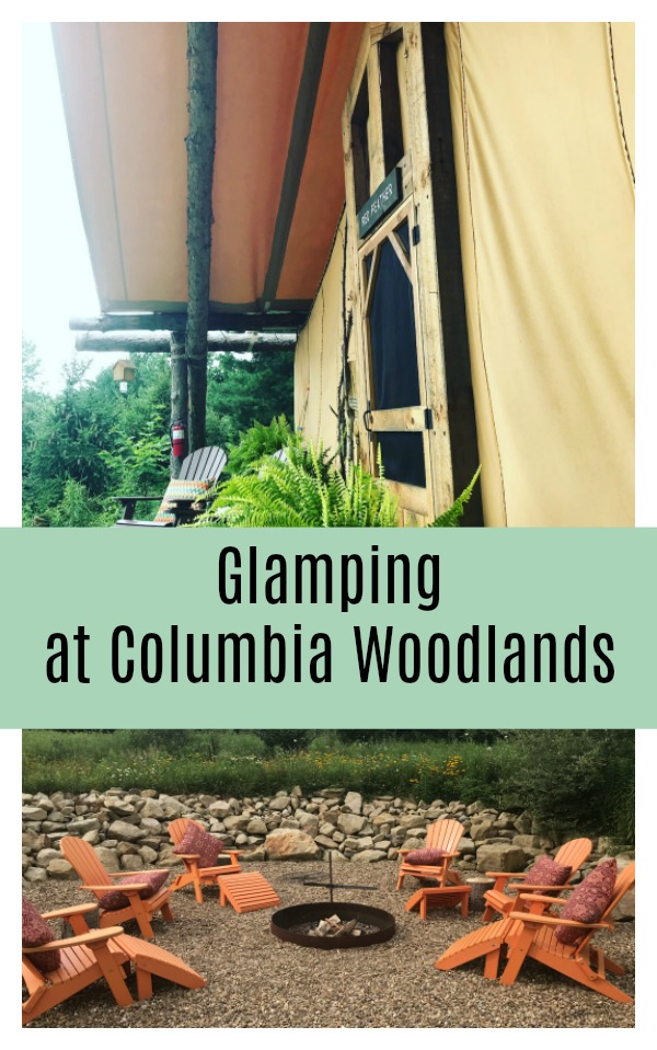 Glamping (fancy camping) in tents at Columbia Woodlands