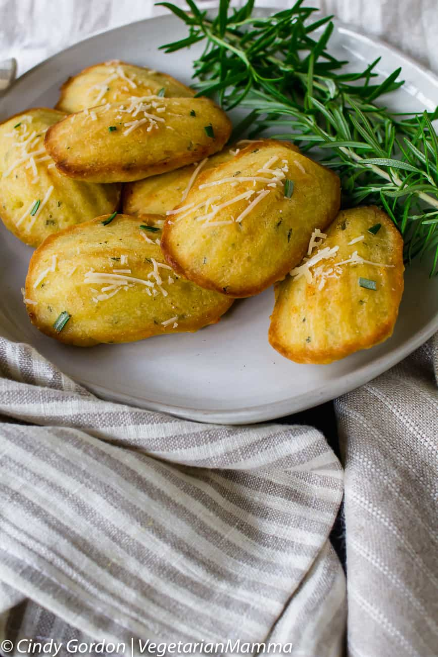 Overhead view of rosemary madeleines