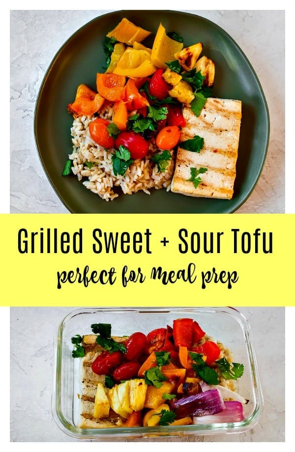 Grilled sweet and sour tofu with vegetables