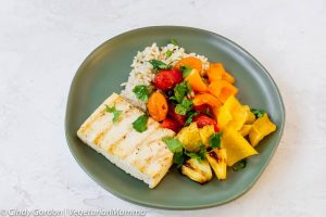 Healthier Grilled Sweet and Sour Tofu with Vegetables featuring EZ Tofu Press