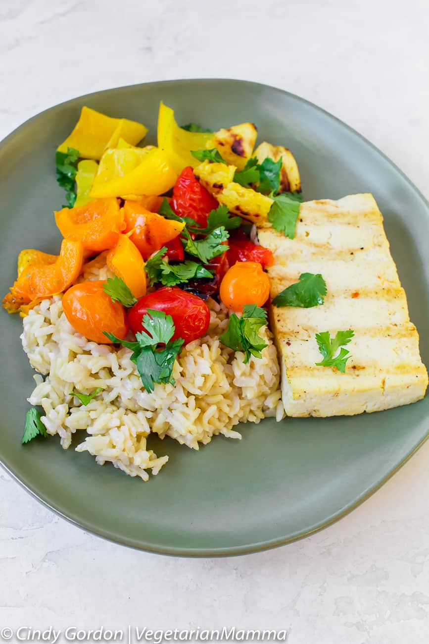 Healthier Grilled Sweet and Sour Tofu with Vegetables is the perfect summer meal.
