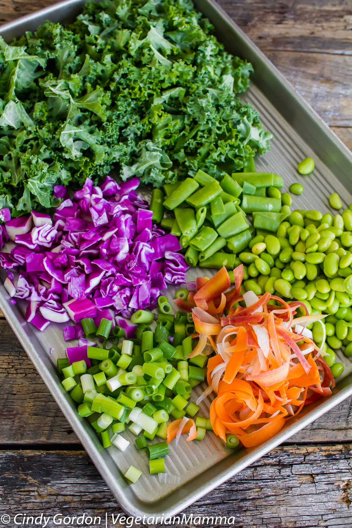 Colorful ingredients of inspired thai kale salad