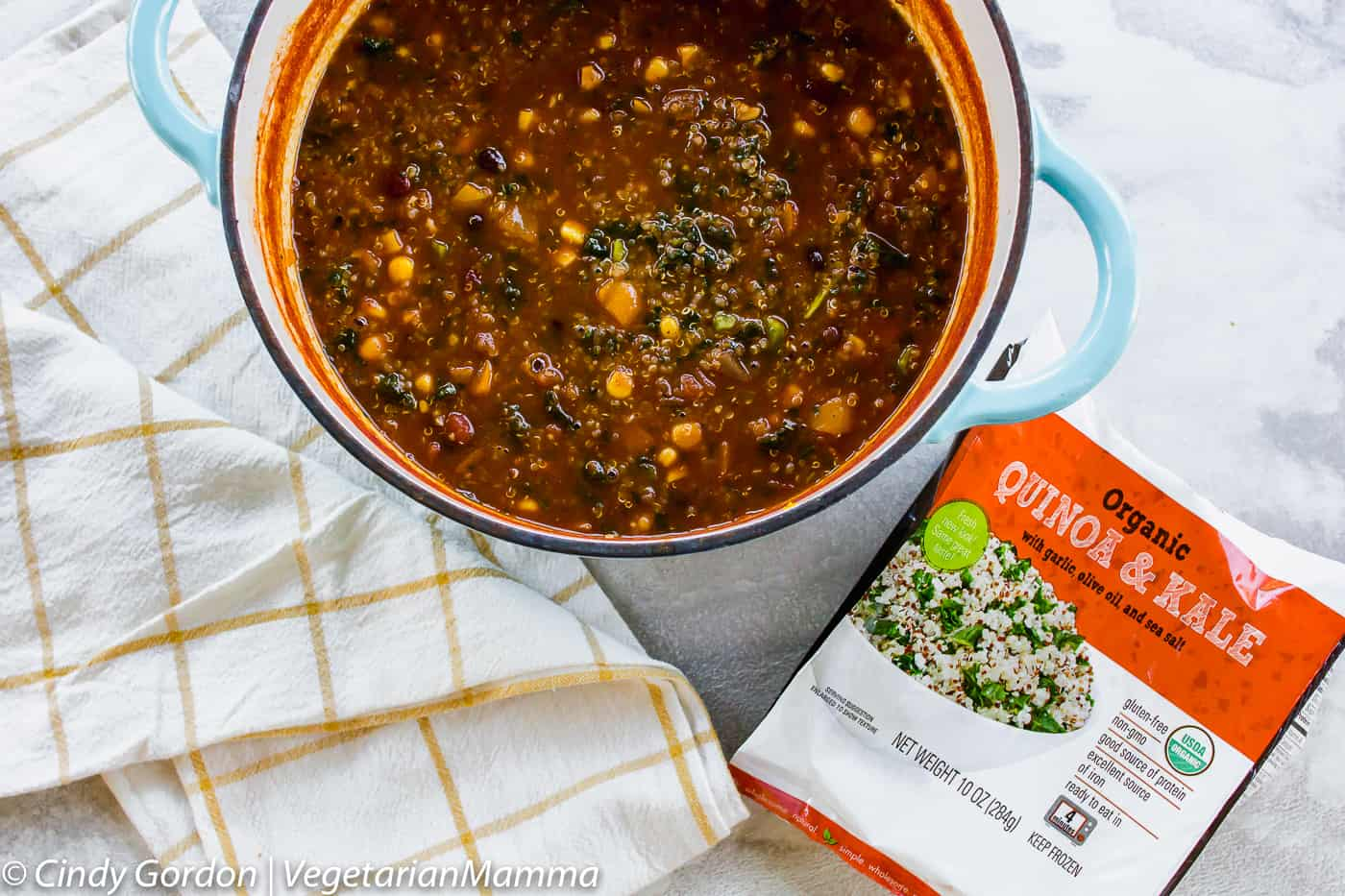 Pot of Vegetarian Pumpkin Chili with Quinoa and box of Path of Life Kale and Quinoa.