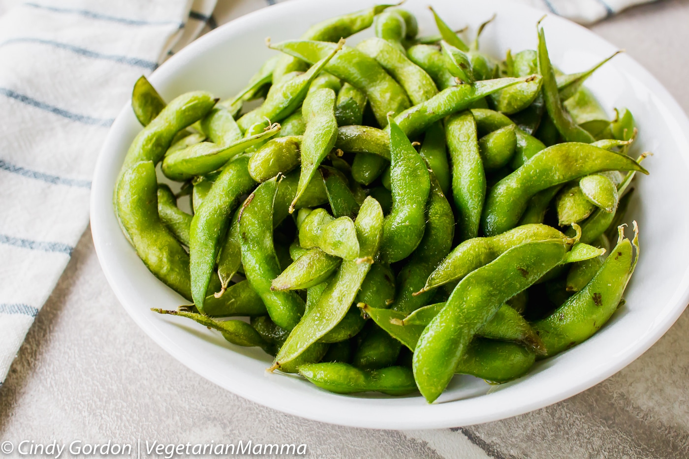 Air Fryer Edamame in a bowl
