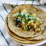 Easy Egg and Quinoa Breakfast Tacos can be made into a freezer meal.